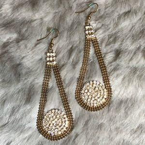 Chrystal & Gold Teardrop Earrings
